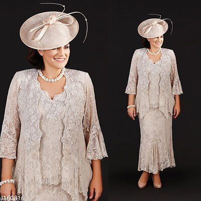 Plus Size Mother Of Bride Dresses With Jacket Lace Formal Outfits Evening Gowns