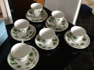 "Vintage QUEEN ANNE English Bone China Teaset ""IVY"" 17 Pieces Lovely Green GC"