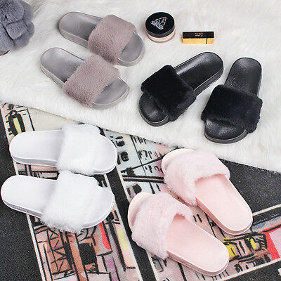 New Women Flat Plushed Mules Faux Fur Slipper Indoor/Outdoor Fur Open Toe Shoes