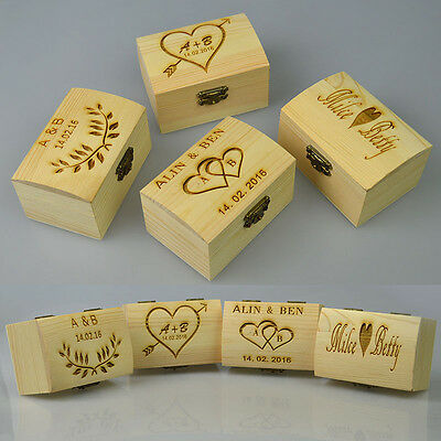 Personalized Wooden Jewelry Ring Box Rustic Engraved Wedding Custom Gift Case