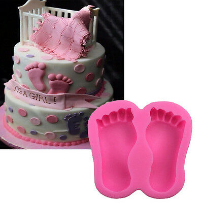 3D Baby Feet Silicone Fondant Mould Chocolate Cake Decorating Baking Mold Tool