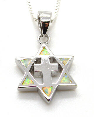 """Star Of David Cross Pendant Sterling Silver White Opal 18"""" Silver Necklace"""