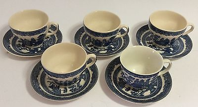 Vintage 5 Tea Cups and Saucers Set Willow-England