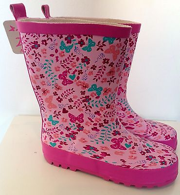 BNWT Monsoon Accessorize Pink Butterfly Wellies/ Boots - size Infant 11