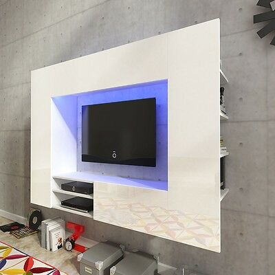 Living Room High Gloss LED TV Wall Entertainment Unit Furniture Display Cabinet