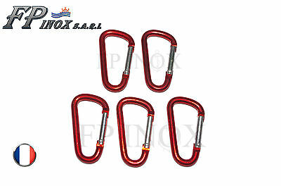 Mousqueton Aluminium Rouge 80mm ( Lot de 5 )