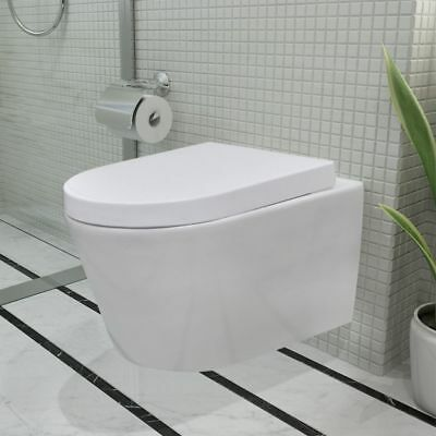 Wall Hung Ceramic Toilet WC Bathroom White Soft Close Seat Concealed Flush Tank