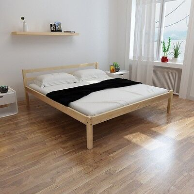 Natural Solid Rustic Pinewood Bed Frame 200 x 160 cm Double Size Slats Headboard