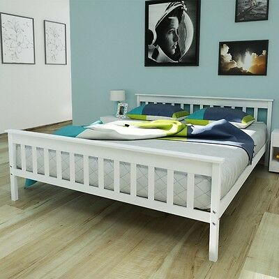 White Solid Rustic Pinewood Double Bed Frame 200x160cm with Head Foot Board Slat