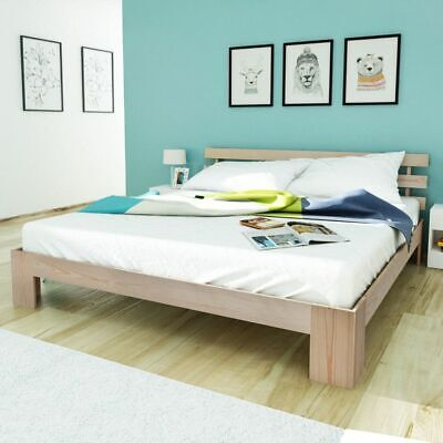 Natural Rustic Solid Chunky Pinewood Double Bed Frame 200x160 cm Slats Headboard
