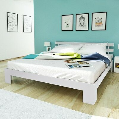 White Rustic Solid Chunky Pinewood Bed Frame 6FT Super King 180x200 cm