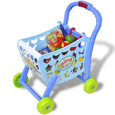 Kid Children Playroom Toy Shopping Trolley Cart Role Play Set Plastic Fruit Food