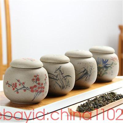 4 PCS mini containers tea caddies Coarse pottery jars and lids small bottles