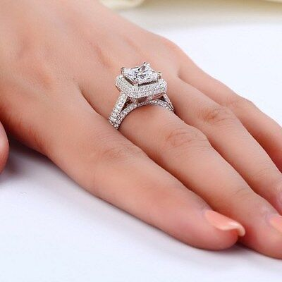 3 Ct Princess Cut Diamond Engagement Ring in 14K White Gold Bridal Jewelry
