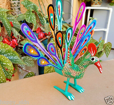 Royal Peacock Alebrije Oaxacan Wood Carving Painting Handcrafted Folk Art Mexico