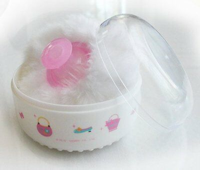 Hello Kitty Baby After-bath Powder Puff Kit Container Dispensor Case