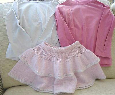 2 girls tops long sleeves and rolled neck, 3-4 years, knitted skirt pink