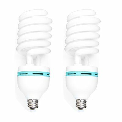 2pcs 85W 230V 5500K E27 Energy Saving CFL Light Daylight Spiral Bulb Studio Lamp