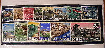 Kenya 1963 Definitive set fine used.