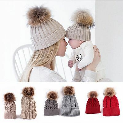 2Pcs Mother Women Baby Child Winter Warm Knit Beanie Fur Pom Hat Crochet Ski Cap