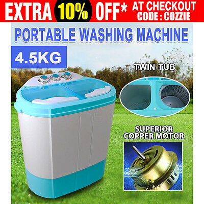 Portable Mini Washing Machine TWIN TUB Spin Dry For Caravan Camping Camper RV AU