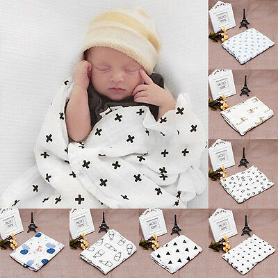 120x120cm Baby Newborn Swaddling Blanket Soft Muslin Infant Cotton Swaddle Towel