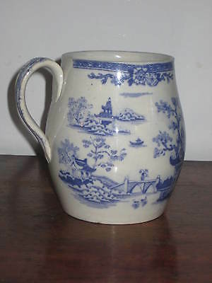 English Pearlware Blue & White Barrel Jug Late 18Th C To Early 19C