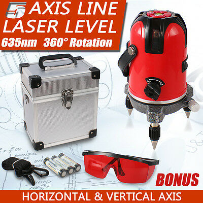 New 5 Axis Safe Line Laser Level Line Levelling Cross Rotary 360°Rotating Beam