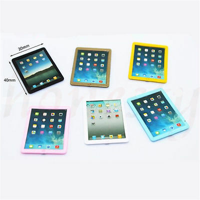 1PC Dollhouse Miniature Mini Look Tablet Computer Pad Decor Gift  Random Color