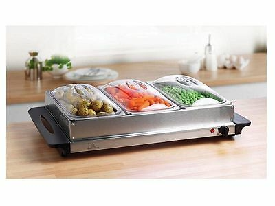 NEW 3 Pan 300W Buffet Server & Warming Tray/Hotplate + 3 Lids-Dinner/Party ETC