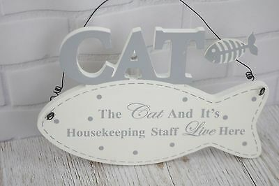 Wall Plaque The Cat And it's Housekeeping Staff Live Here Fish Shaped Sign F1717