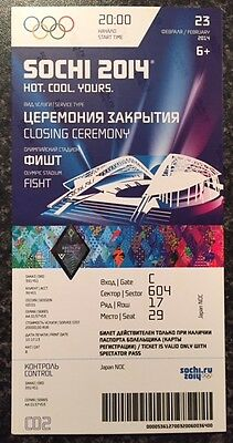 Rare Sochi 2014 Winter Olympic Genuine Closing Ceremony Ticket *mint*