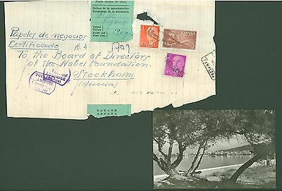 Postcard E08 used 1956 View Ibiza SPAIN / Part of cover