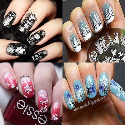 Christmas Snowflakes Snowman Nail Art Stamp Image Plate Designs Buy 4 Get 1 Free