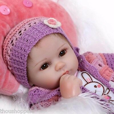Real Life Looking 40cm Vinyl Silicone + Cloth Body Reborn Handmade Baby Doll #48
