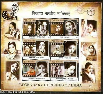 India 2011 MNH SS, Legendary Heroines of Indian Cinema, Films, Projector 1.- M45