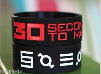 """Set Of 2  30 Seconds To Mars Silicone Wristband Bracelet 1"""" Wide Uk Seller"""