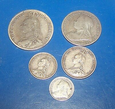 British Queen Victoria Silver Coins 5 In Total