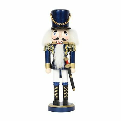 20cm Traditional Wooden Standing Nutcracker (Blue) Christmas Decoration