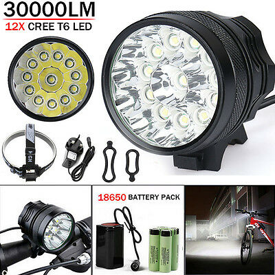 Waterproof 30000LM 12x CREE T6 LED 18650 Bicycle Cycling Head Light Lamp UK/US