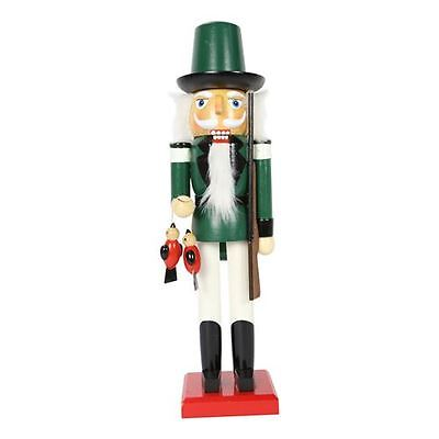 38cm Wooden Standing Christmas Nutcracker (Green) Traditional Decoration