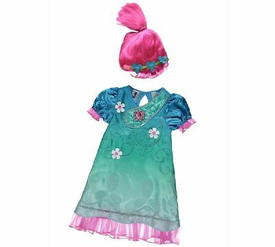 New George Dreamworks Trolls Poppy Fancy Dress Costume Outfit With Wig and Sound