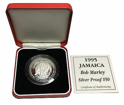 1995 Jamaica Bob Marley Silver Proof $50 Coin with Box and Certificate