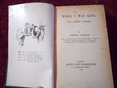 When I Was King and Other Verses Henry Lawson 1905 1st edition Vintage BOOK old
