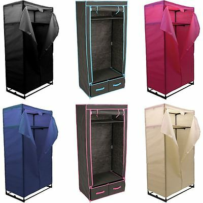 Double Wardrobe Coloured Canvas Rail Bedroom Storage Clothes Cupboard Organiser