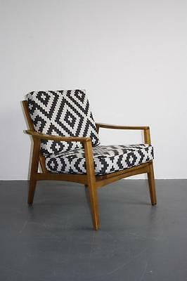 Midcentury Danish Arm Lounge Chair With Geometric Upholstery Retro Vintage #1868