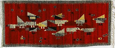 A rare 1970's Polish folk art rug. New old stock Cepelia. Birds Red & grey
