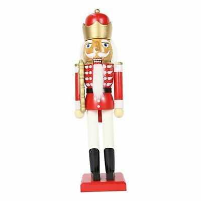 38cm Wooden Standing Christmas Nutcracker Red with Crown Traditional Decoration