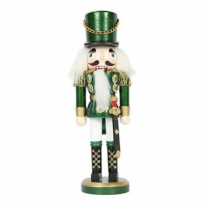 38cm Traditional Wooden Standing Nutcracker (Green) Christmas Decoration