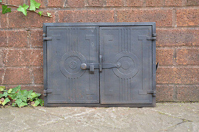 43 x 32.3 cm old cast iron fire bread oven door doors flue clay range pizza